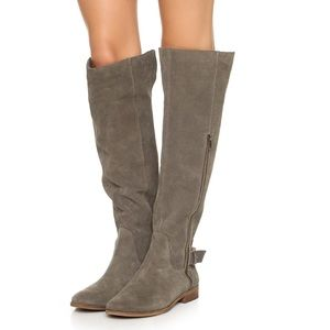 Splendid Polly green gray tall suede boots! 8.5